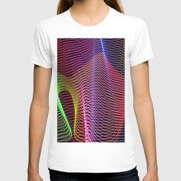 wavy rainbow light painting T-shirt