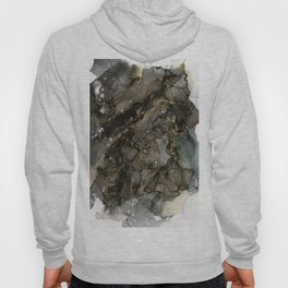 Midnight Gold - Abstract Ink Painting Hoody