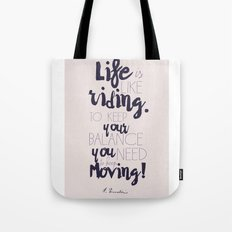 A. Einstein quote on life for motivation inspiration and strenght, typography, illustration, decor Tote Bag