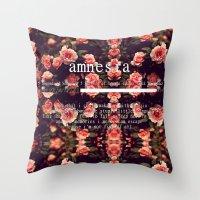 lyrics Throw Pillows featuring Amnesia Lyrics by WanderlustHipster