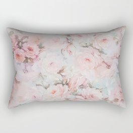 Vintage romantic blush pink teal bohemian roses floral Rectangular Pillow