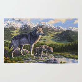Mother Gray Wolf and Pups River Valley Rug