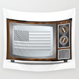 Patriotic Black And White Television Wall Tapestry