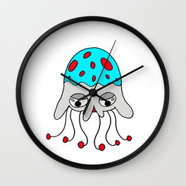 Hand drawn funny looking jellyfish Wall Clock