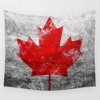 canada Wall Tapestries featuring Canada Flag by Michael Leighfield