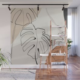 Minimal Abstract Art- Monstera Wall Mural
