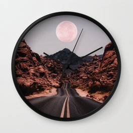 Road Red Moon Wall Clock