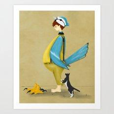 Blue Chickadee Art Print