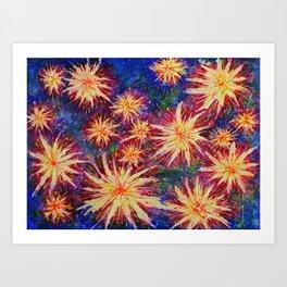 Explosion and fireworks - native plants - artwork full of joy and celebration Art Print