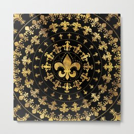 Fleur-de-lis - circular ornament - Gold and black Metal Print