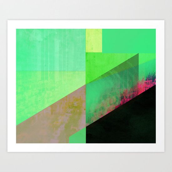 Green City Abstract Art Print