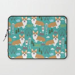 Corgi seattle washington welsh corgi pattern print dog lover gifts space needle ferris wheel coffee Laptop Sleeve