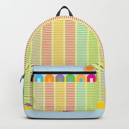 Beach cabins pattern stripes Backpack
