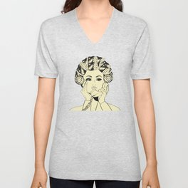 The woman with the curlers Unisex V-Neck