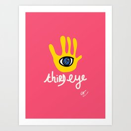 Third Eye on a Yellow Graffiti Art Mystic Hand Art Print
