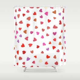 Love, Romance, Hearts - Red White Purple Pink Shower Curtain