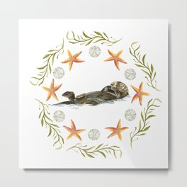 Sea Otter Mandala 1 - Watercolor Metal Print