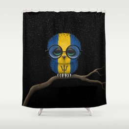 Baby Owl with Glasses and Barbados Flag Shower Curtain
