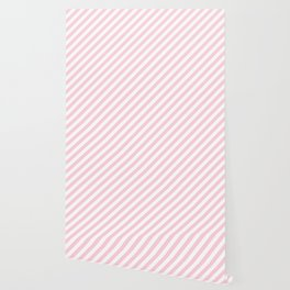 Mini Soft Pastel Pink and White Candy Cane Stripes Wallpaper