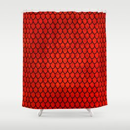 Mermaid Scales - Red Shower Curtain