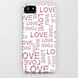Modern pink teal love floral typography romantic valentines iPhone Case