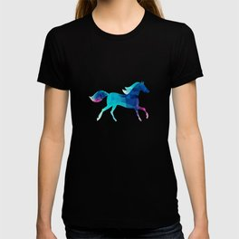 blue horse made of triangles T-shirt