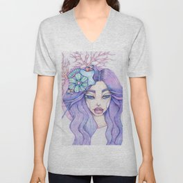 JennyMannoArt Colored Graphite/Keira the Mermaid Unisex V-Neck