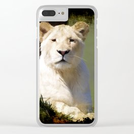 Noble Beast - Rare White Lion Clear iPhone Case