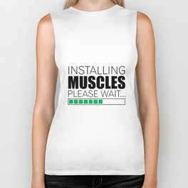 Lab No. 4 Installing Muscles Please Wait Gym Motivational Quotes Poster Biker Tank