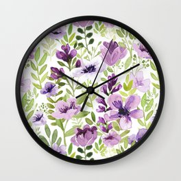 Watercolor/Ink Purple Floral Painting Wall Clock