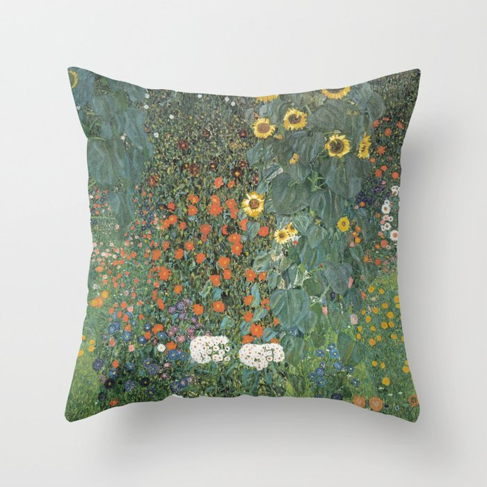 Gustav Klimt   Farm Garden With Sunflowers Throw Pillow