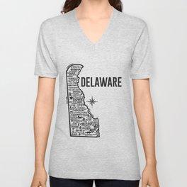 Delaware Map  Unisex V-Neck
