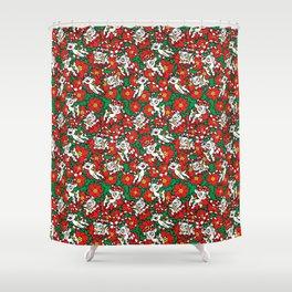 Christmas Poinsettia Candy Cane Deer Shower Curtain