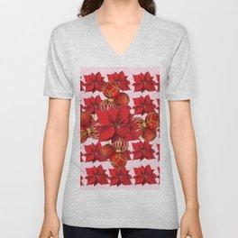 RED POINSETTIA FLOWERS  ORNAMENTS CHRISTMAS ART Unisex V-Neck
