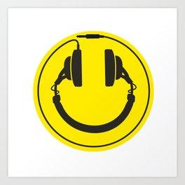 Headphones smiley wire plug Art Print