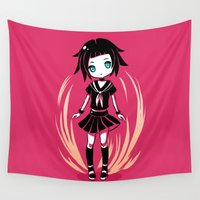 school Wall Tapestries featuring School Girl by Freeminds