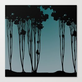 Forest Silhouette Blue by Seasons K Designs for Salty Raven Canvas Print
