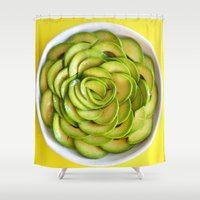 avocado Shower Curtains featuring Avocado by Hector Wong