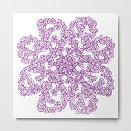 Purple Rose Flower Doodle Metal Print