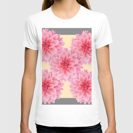 PINK DAHLIA FLOWERS IN YELLOW-GREY T-shirt