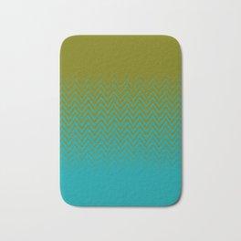 gradient chevron pattern aqua olive Bath Mat