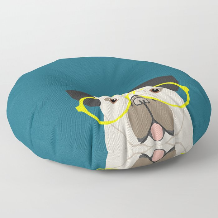 Emerson - Pug with neon Hipster Glasses, Cute Retro Dog, Dog, Husky with Glasses, Funny Dog Floor Pillow