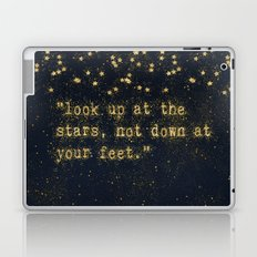 Look up at the stars,not down at your feet- gold glitter Typography on dark backround Laptop & iPad Skin
