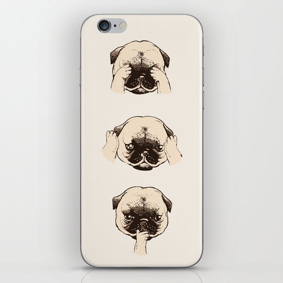 No Evil Pug iPhone & iPod Skin