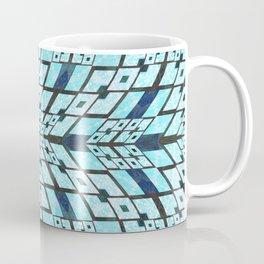 Three Dimensional Geometric Blue Patchwork Print Coffee Mug