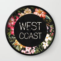 west coast Wall Clocks featuring West Coast by Text Guy