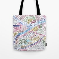 literary Tote Bags featuring St. Petersburg Literary Map by Ilya Merenzon