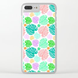 Simply Monstera in Mod Multi + White Clear iPhone Case