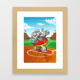 Olympic Shot Put Elephant Framed Art Print