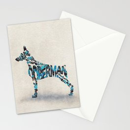 Doberman Pinscher Typography Art / Watercolor Painting Stationery Cards